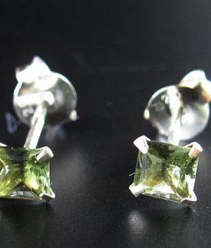 Moldavite Square Shape Faceted Earrings Sterling Silver (0.40gram) 1