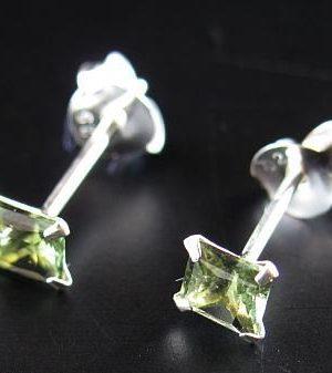 Moldavite Square Shape Faceted Earrings Sterling Silver (0.40gram) 2