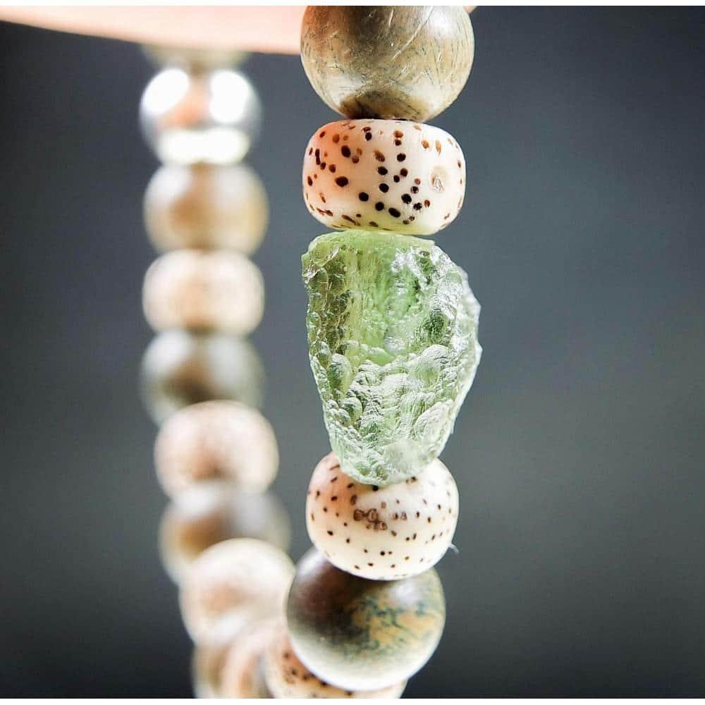 moldavite bracelet wood