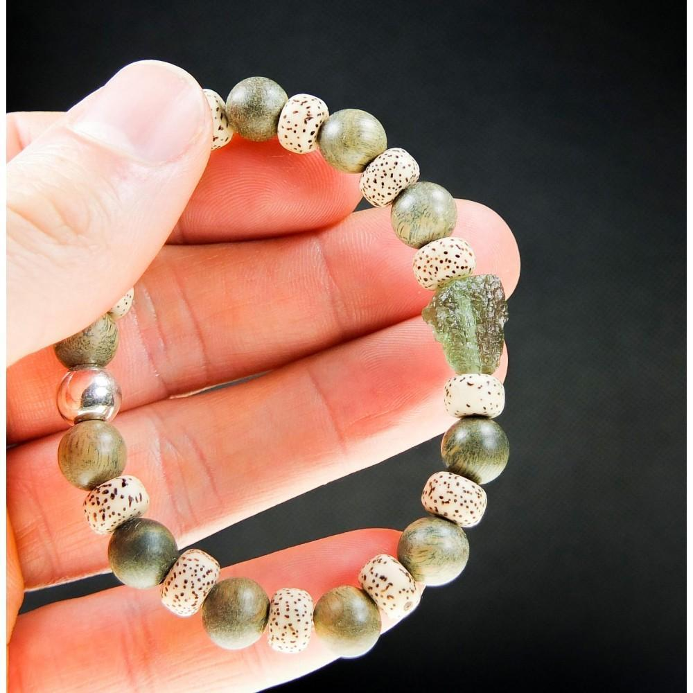 Wood Beads And Moldavite Stone Bracelet