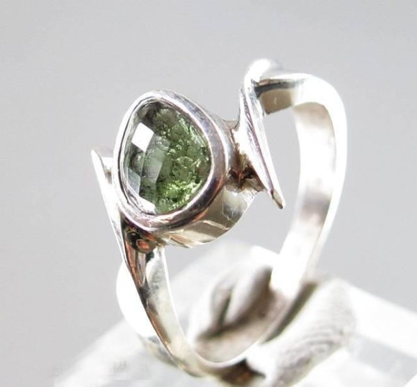 Faceted Moldavite 925 Sterling Silver Ring Size 8 1/4 5