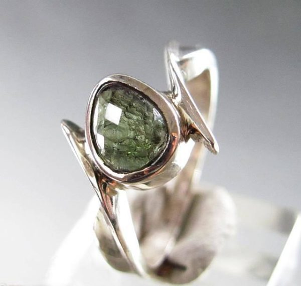 Faceted Moldavite 925 Sterling Silver Ring Size 8 1/4 _1