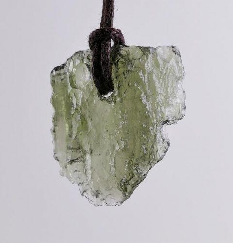 Moldavite Raw Pendant 11,5 Carat On Cord 3