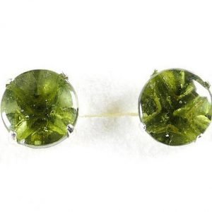 Round Shape Moldavite 925 Sterling Silver Earrings 3 Carat 1
