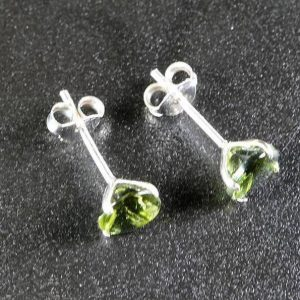 Round Shape Moldavite 925 Sterling Silver Earrings 3 Carat 4