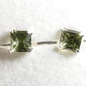 Square Shape Moldavite 926 Sterling Silver Earrings