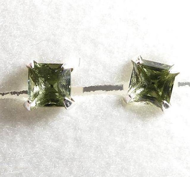 Square Shape Moldavite 926 Sterling Silver Earrings