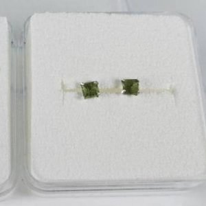 Square Shape Moldavite 926 Sterling Silver Earrings2