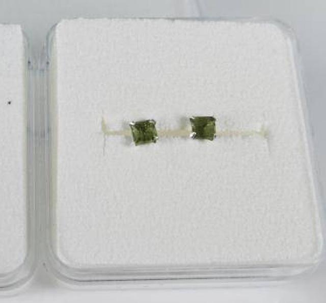 Square Shape Moldavite 926 Sterling Silver Earrings2