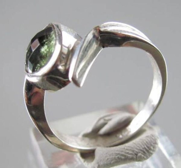Faceted Moldavite 925 Sterling Silver Ring Size 8 1/4 2