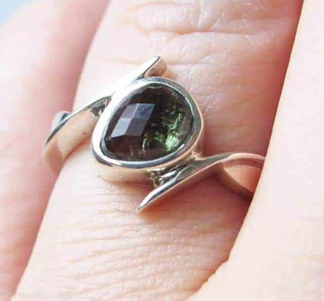 Faceted Moldavite 925 Sterling Silver Ring Size 8 1/4 1