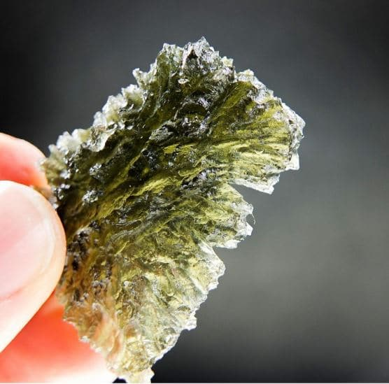 Big Hedgehog Moldavite from Besednice with CERTIFICATE
