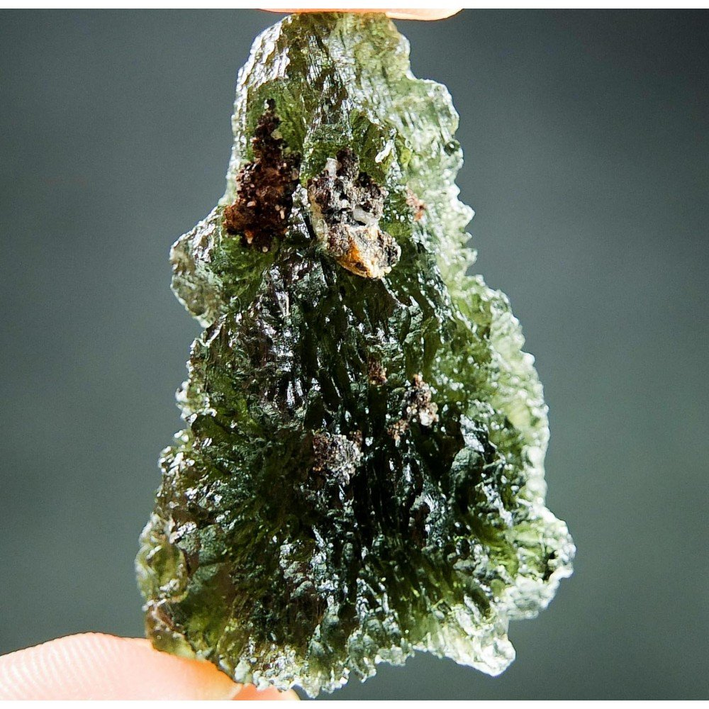 Big Moldavite with Ferigonous Sandstone - Certified