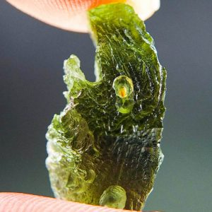 Moldavite with Open Bubble and 2 kinds of Sculpture