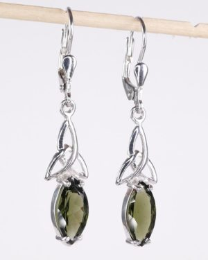 Faceted Moldavite Marquise Sterling Silver Earrings with Certificate of Authenticity (3.2grams) 1