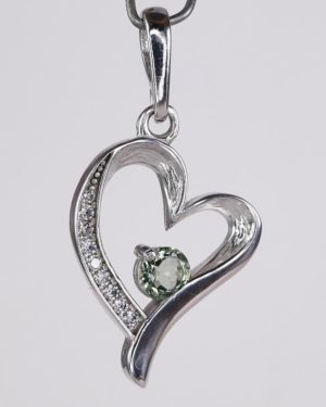 Heart Shape Faceted Moldavite Pendant With Cubic Zirconia with Certificate of Authenticity (4.0grams) 1