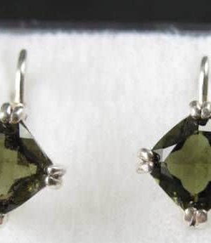 Faceted Square Moldavite Sterling Silver Earrings with Certificate of Authenticity (2.3grams) 1