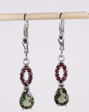 Pear Shape Faceted Moldavite With Garnets Sterling Silver Earrings with Certificate of Authenticity (2.8grams) 1