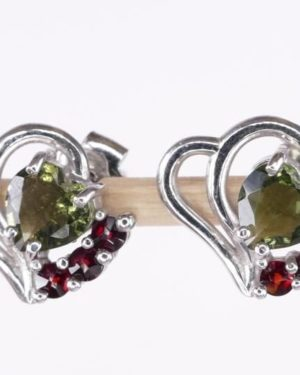 Faceted Moldavite Heart Sterling Silver Earrings With Garnets with Certificate of Authenticity (1.9grams) 1