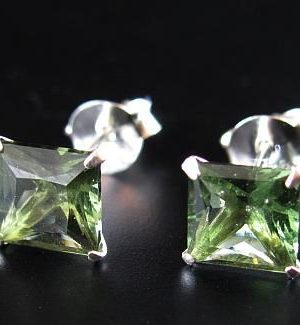 Faceted Moldavite Square Shape Sterling Silver Earrings with Certificate of Authenticity (0.70grams) 1