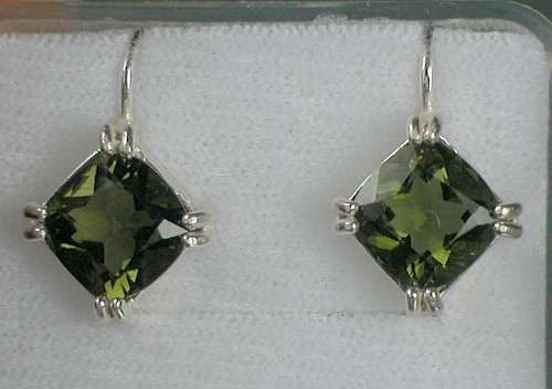 Faceted Square Moldavite Sterling Silver Earrings with Certificate of Authenticity (3.2grams) 1