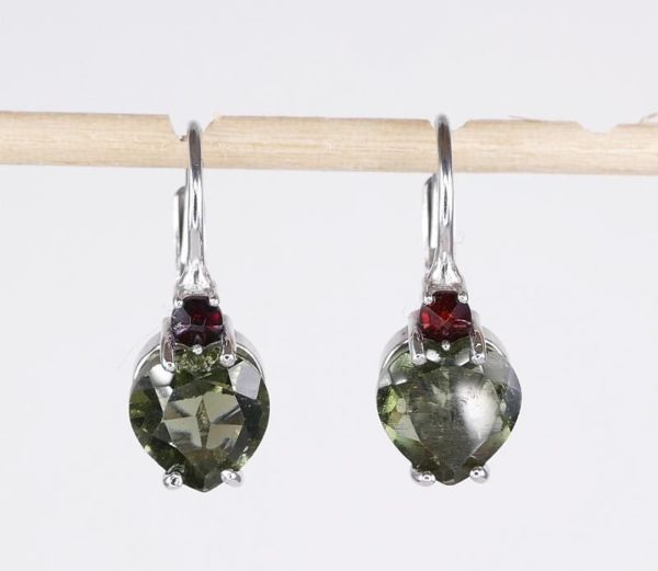 Faceted Moldavite Oval Cut With Cubic Zirconia Earrings with Certificate of Authenticity (3.3grams) 1