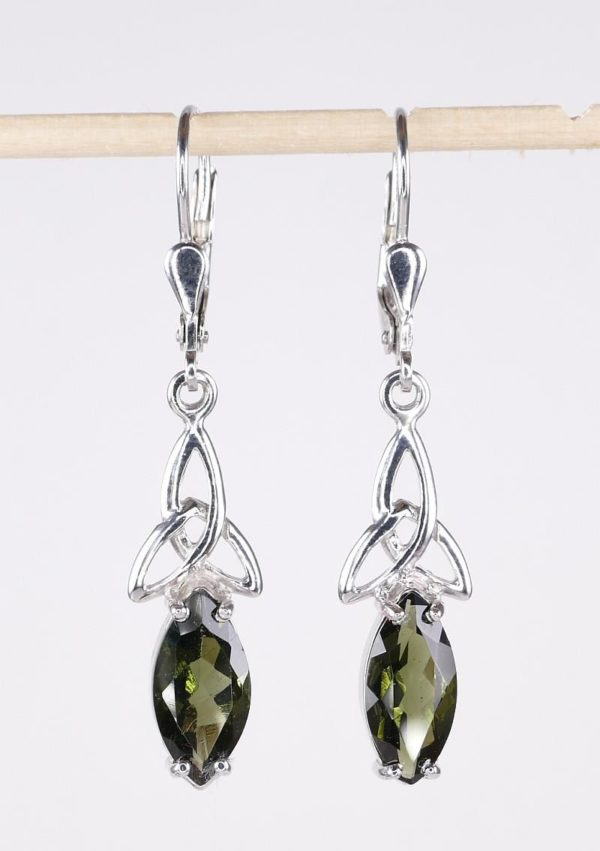 Faceted Moldavite Marquise Sterling Silver Earrings with Certificate of Authenticity (3.2grams) 2