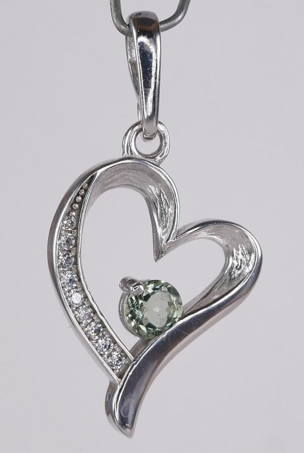 Heart Shape Faceted Moldavite Pendant With Cubic Zirconia with Certificate of Authenticity (4.0grams) 2