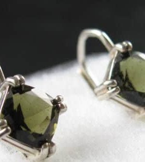 Faceted Square Moldavite Sterling Silver Earrings with Certificate of Authenticity (2.3grams) 2