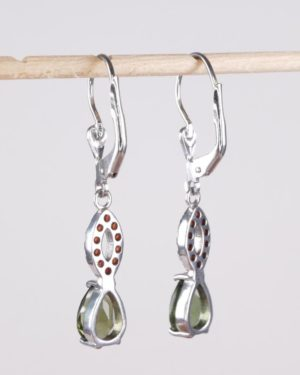 Pear Shape Faceted Moldavite With Garnets Sterling Silver Earrings with Certificate of Authenticity (2.8grams) 2