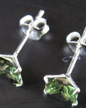 Faceted Moldavite Square Shape Sterling Silver Earrings with Certificate of Authenticity (0.70grams) 2