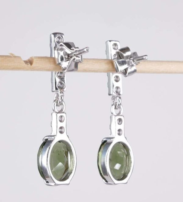 Faceted Moldavite Oval Cut With Cubic Zirconia Earrings with Certificate of Authenticity (3.3grams) 2