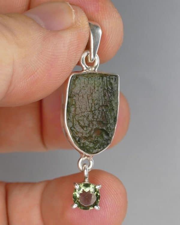 Fine Shape Faceted Sterling Silver Moldavite Pendant (4.2gram)