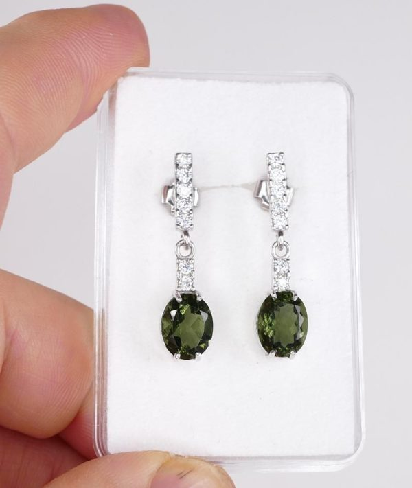 Faceted Moldavite Oval Cut With Cubic Zirconia Earrings with Certificate of Authenticity (3.3grams) 3