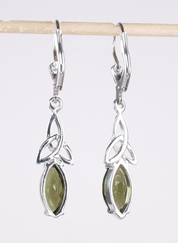 Faceted Moldavite Marquise Sterling Silver Earrings with Certificate of Authenticity (3.2grams) 3