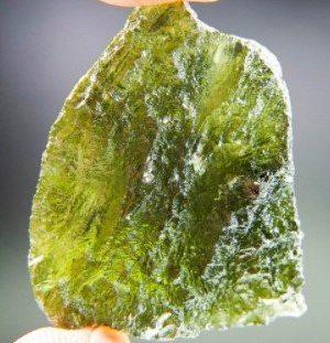 Big Moldavite with 2 Open Bubbles Stone (13.18 grams)