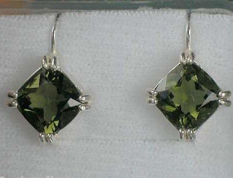 Faceted Square Moldavite Sterling Silver Earings (3.2grams)