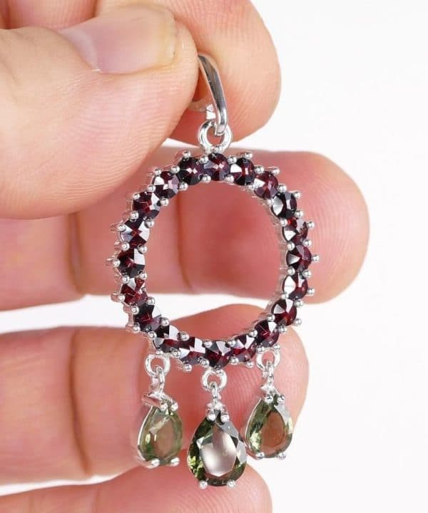 Sterling Silver Faceted Moldavite Garnet Pendant