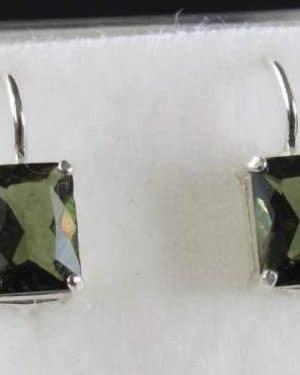 Rectangle Shape Moldavite Faceted Sterling Silver Earrings (2.6grams)