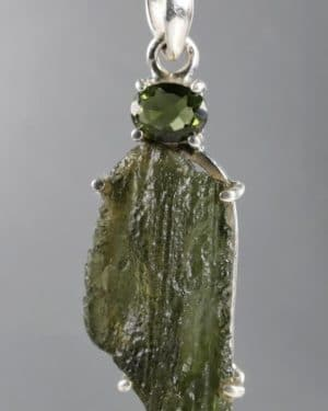 Unique Faceted Raw Moldavite Sterling Silver Pendant (7.1grams)