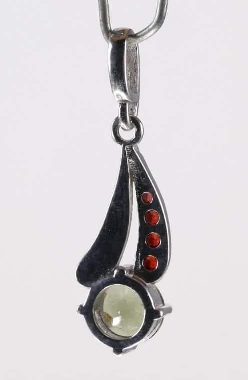 Garnet Sterling Silver Faceted Moldavite Pendant (1.4 gram)
