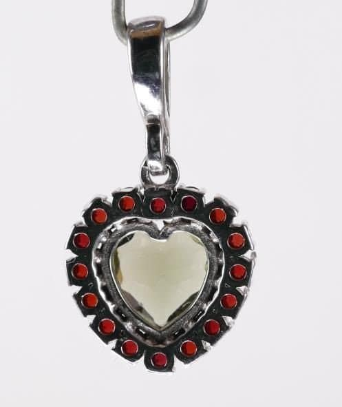 Moldavite Garnets Sterling Silver Heart Shape Pendant (2.3grams)