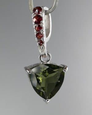 Moldavite Faceted Garnet Sterling Silver Pendant (1.3gram)