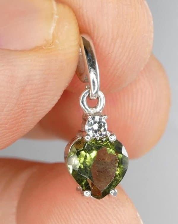Moldavite Faceted Heart Shape Pendant with Cubic Zirconia (1.0gram)