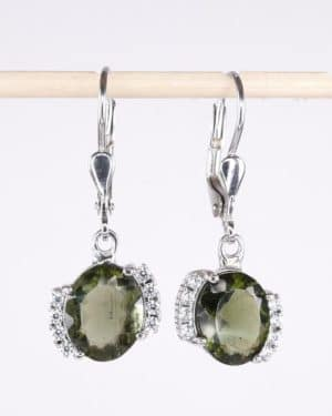 Faceted Oval Moldavite With Cubic Zirconia Sterling Silver Earrings (3.2grams)