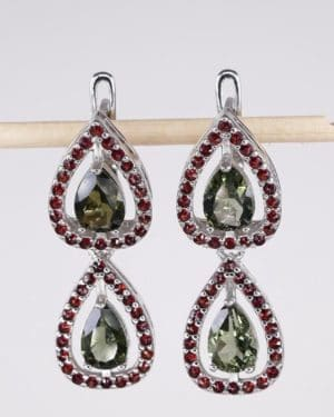 Faceted Moldavite Double With Garnet Sterling Silver Earrings (6.8grams)
