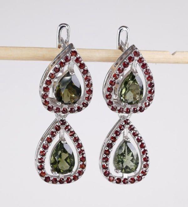 jFaceted Moldavite Double With Garnet Sterling Silver Earrings (6.8grams)