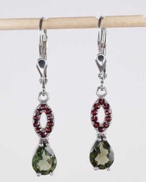 Pear Shape Faceted Moldavite With Garnets Sterling Silver Earrings (2.8grams)