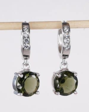 Round Faceted Moldavite With Cubic Zirconia Earrings (4.7grams)
