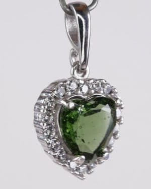 jFaceted Moldavite Heart Shape With Cubic Zirconia Sterling Silver Pendant (4.0grams)